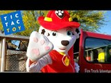 Marshall the Fire Rescue Paw Patrol Pup REAL Fire Truck ~ Tic Tac Toy Trailer Kid Video
