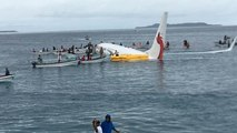 Passengers and crew evacuated from plane after crash landing on Micronesia lagoon