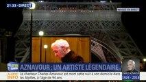 Au pied de la tour Eiffel, le premier hommage à Charles Aznavour