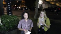 Meg Donnelly and Kylee Russell discuss their latest shows Z-O-M-B-I-E-S and American Housewife outside The Grove in Los Angeles