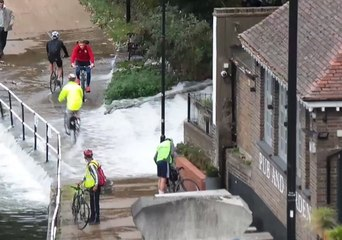 Burst Water Main Creates Cascade of Floodwater for London Cyclists