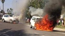 चलते-चलते आग के गोले में बदल गई कार, फिल्मी स्टाइल में कूदकर ड्राइवर ने बचाई जान