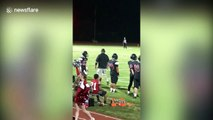 Touchdown! Crowd goes wild as deer sprints across football field during touchdown play