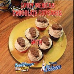 Spicy Mexican Chocolate Cupcakes topped with Nestlé Butterfinger Peanut Butter Cups Skulls