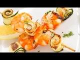 Brochetas de camarón con chutney de pistaches / Shrimp skewers with pistachio chutney