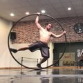 Acrobat Falls While Practicing New Trick on Cyr Wheel