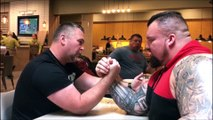 Arm Wars | Armwrestling | Building the Beast | Eddie Hall gets his first lesson at breakfast