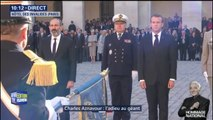 Emmanuel Macron et le Premier ministre arménien arrivent aux Invalides pour l'hommage à Charles Aznavour
