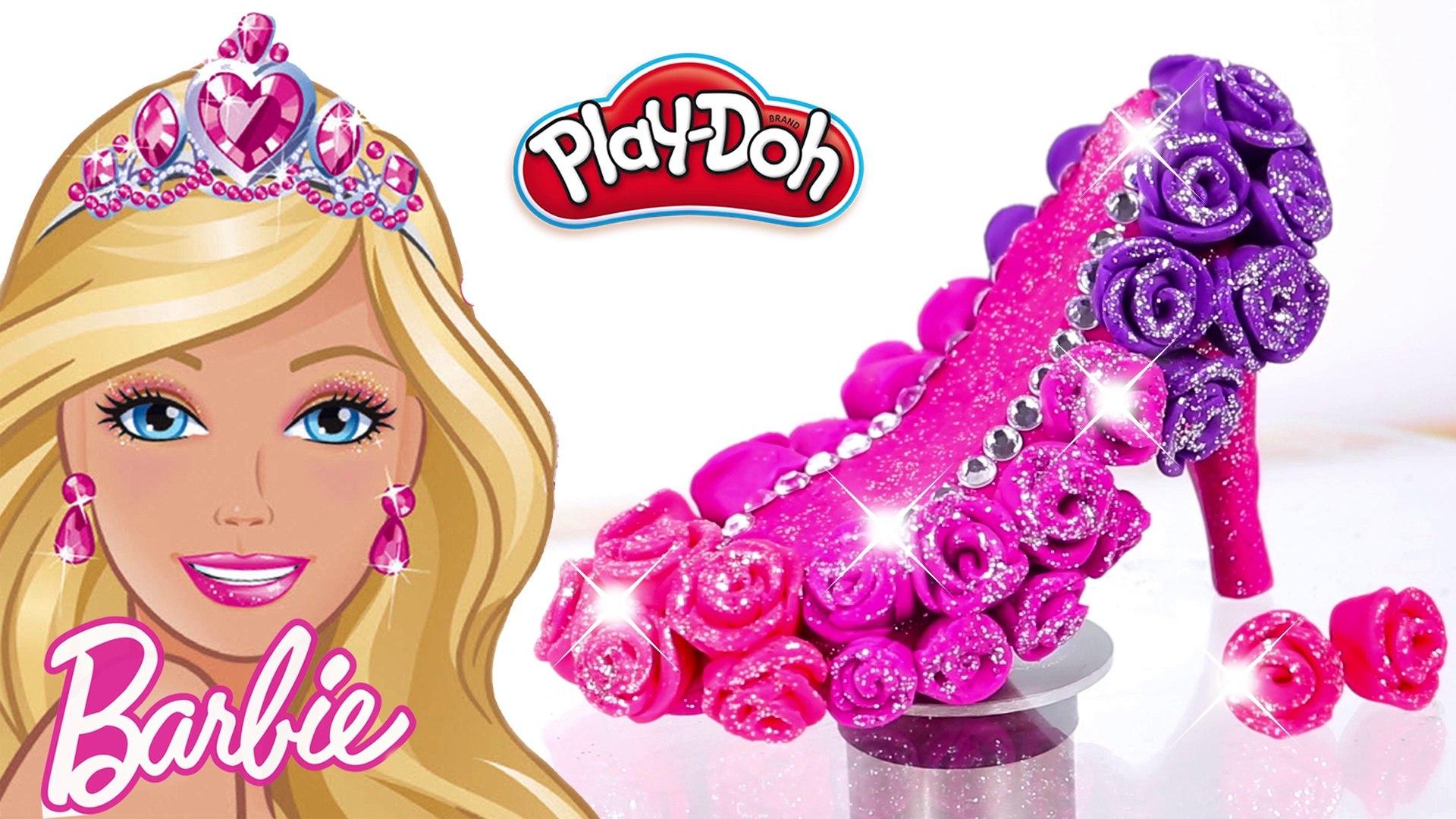 4f14aad8bd7 Play Doh Sparkle Barbie Disney Princess Rose Shoes Super Glitter High Heels  Crown and Frozen Dress