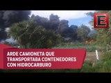 Explosión e incendio en toma clandestina en Puebla