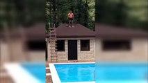 Ivre, il veut sauter dans la piscine mais se fracasse le crane !!