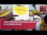 Simpatizantes del Centro Democrático marchan  contra acuerdo de paz, en Cartagena