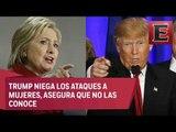 Hillary cuestiona a Trump sobre ataques a mujeres / Tercer debate Hillary Clinton y Donald Trump