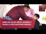 Sergio, el niño que sigue de cerca a José Antonio Meade