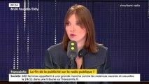 """""""Quand vous allez universaliser la redevance, vous allez avoir plus de recettes. Je pense que ce 'plus de recettes' doit revenir à l'audiovisuel public sous la forme de la suppression de la publicité"""", explique la députée LREM Aurore Bergé."""
