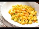 Codos con chicharos y camarones al curry - Recetas de cocina italiana en español - recetas de pastas