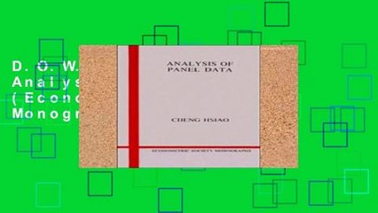 D.O.W.N.L.O.A.D [P.D.F] Analysis of Panel Data (Econometric Society Monographs) [P.D.F]