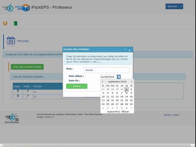 iPackEPS - Configuration des Périodes
