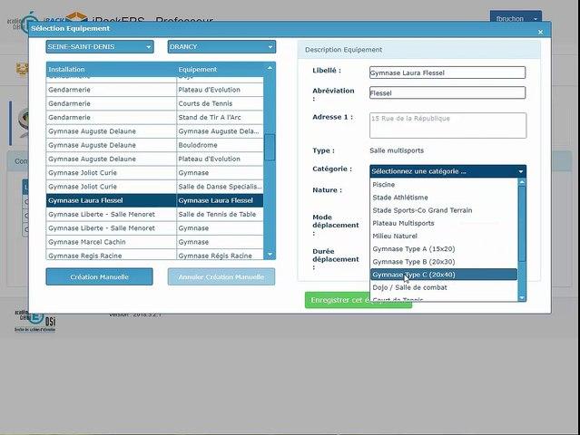 iPackEPS - Configurer les Équipements Sportifs