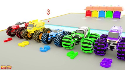 Crane Truck Helps Police Cars Transform to Super Monster Truck - Police Car Cartoon for Kids