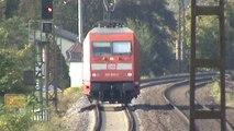 Züge und Rheinschiffe bei Kamp-Bornhofen, 101, 145, LTE 185, 152