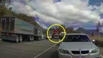 Un camion n'arrive pas à freiner dans une descente alors qu'il y a des bouchons