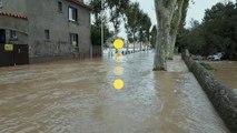 Le niveau atteint lundi par la crue à Trèbes, dans la vallée de l'Aude, est sans précédent depuis 1891