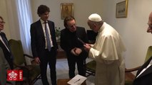 Pope Francis meets Wednesday with singer Paul David Hewson - Bono Vox of U2 fame - who expressed his support for the Pontifical Foundation Scholas Occurrentes,