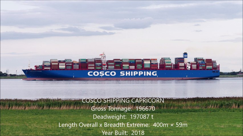 Shipspotting Hamburg 2018 - 5 Big Container Ships - Cosco Shipping MSC  Evergreen FHD