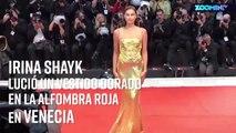 Irina Shayk desfila en la alfombra roja de Venecia con Donatella Versace