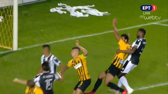 Aris requests a penalty (Varela holds Younes - 58') - Aris vs PAOK - 21.10.2018 [HD]