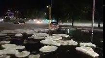 Après un orage de grelons, une Mini-banquise se forme à Rome