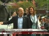 Felipe Calderón emite su voto en las elecciones internas del PAN