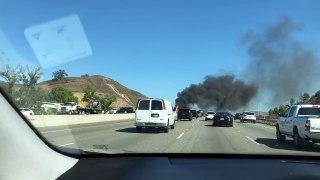 Fiery Plane Crash Shuts Down Freeway