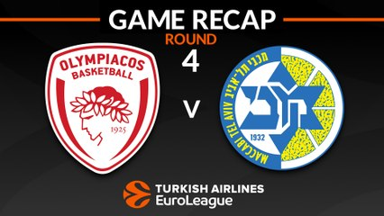 EuroLeague 2018-19 Highlights Regular Season Round 4 video: Olympiacos 88-80 Maccabi