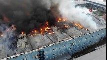 Esenyurt'ta 3 Fabrika Alev Alev Yandı! Dev Yangın Havadan Görüntülendi