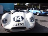 Firing on... Eight! Lister-Chevrolet 'Knobbly' setting off car alarms at Goodwood...