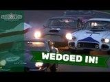 Corvette C1 hit by Aston Martin DB4GT at Goodwood