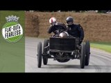 1905 Darracq 200HP land speed record car seriously sideways at Goodwood