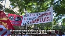 Bordeaux: manifestation contre la fermeture de Ford-Blanquefort