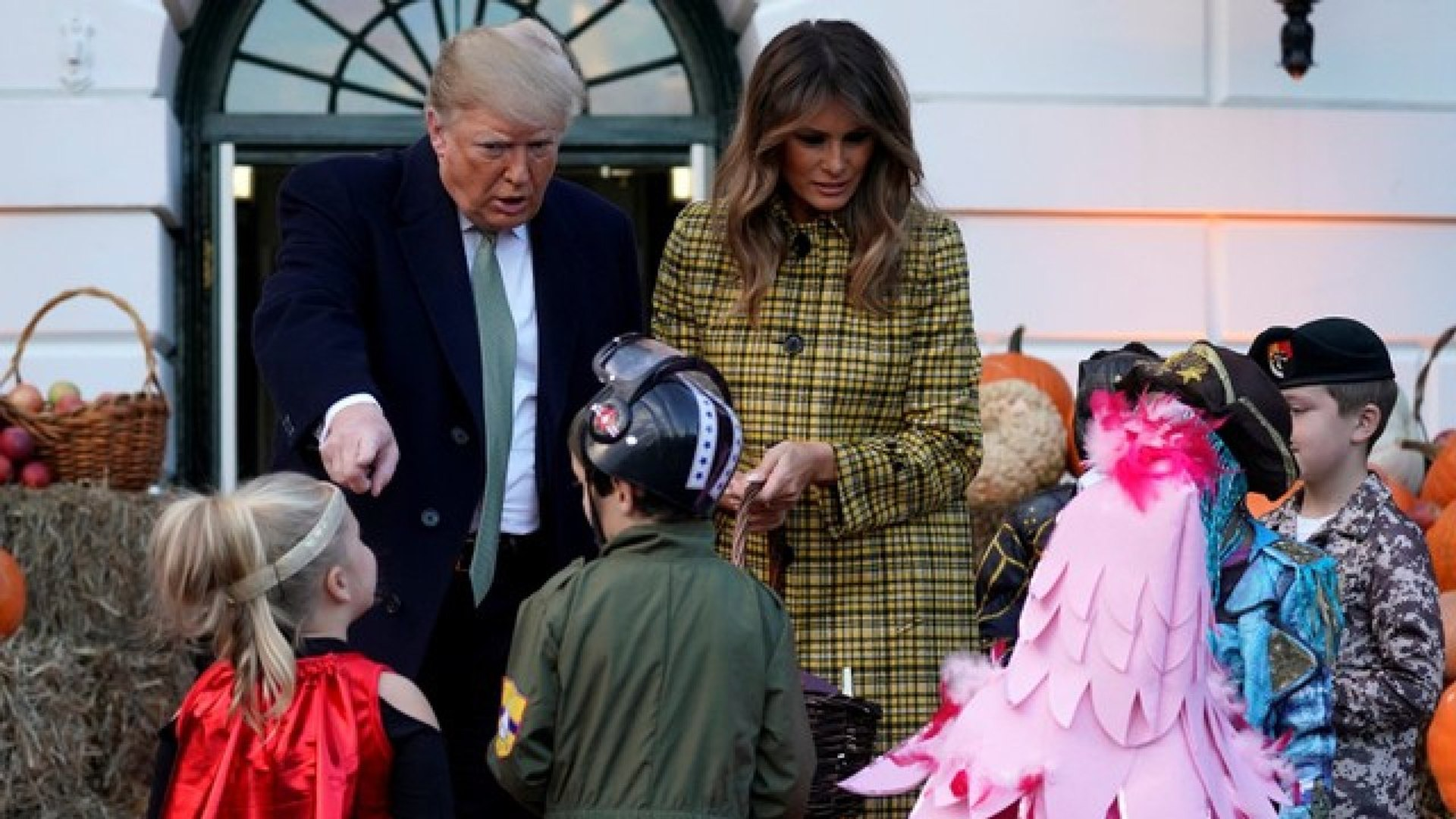 President Trump And First Lady Melania Trump Hand Out Halloween Candy