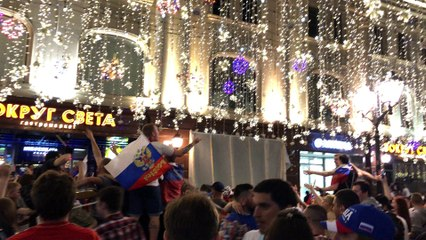 FIFA WORLD CUP celebrations in Moscow after beating Spain