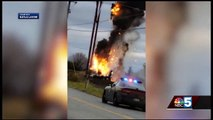 Helicopter hits power, burns, and crashes – 2 killed, 2 survive