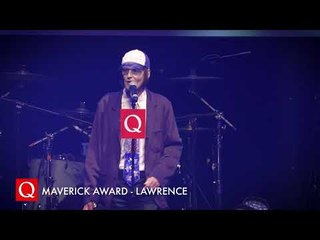 Lawrence collects his first award EVER at the #QAwards
