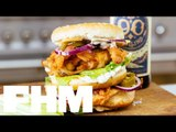 How to make DJ BBQ's Double Buffalo Chicken Stack Burger