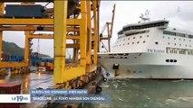 Regardez les impressionnantes images d'un accident dans un port de Barcelone où tout tourne au drame