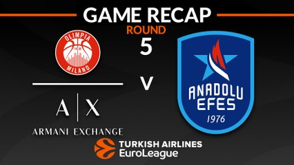 EuroLeague 2018-19 Highlights Regular Season Round 5 video: AX Milan 81-80 Efes