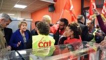 LE CREUSOT : Marie-Guite Dufay face à FO et à la CGT