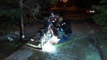 Çalıntı olarak aranan motosiklet parkta yakılmış halde bulundu