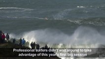 This year's first big session of giant waves surfing in Nazaré